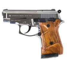 Plynová pištoľ Atak Zoraki 914 Auto chróm, kal.9 mm, pažba drevo