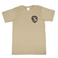 Tričko s krátkym rukávom, farba olivová, čierne logo